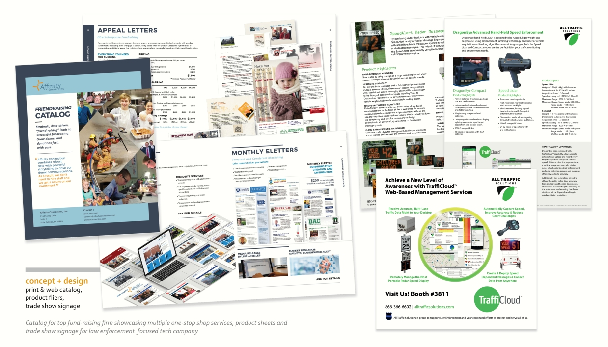Direct mail catalog, trade show graphics, fliers